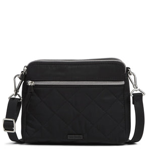 Black RFID Medium Triple Compartment Crossbody