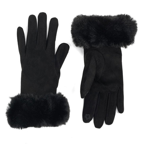 Black Faux Fur Touchscreen Gloves