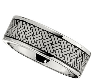 8.0mm Dura Cobalt Band with Black Laser Woven Pattern