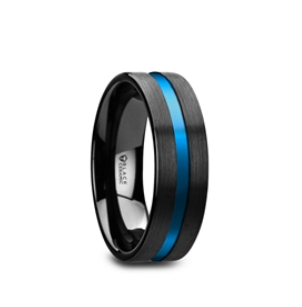Black Ceramic Men's Wedding Ring with Blue Grooved Center