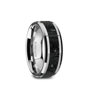 Men's  Wedding Band with Black & Gray Lava Rock Inlay