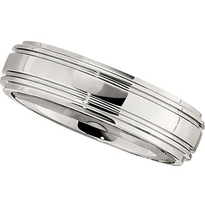 Domed Double Ridged Dura Cobalt Band