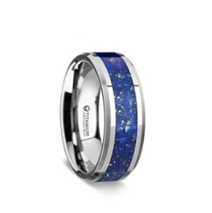 Men's Titanium Wedding Ring with Blue Lapis Inlay