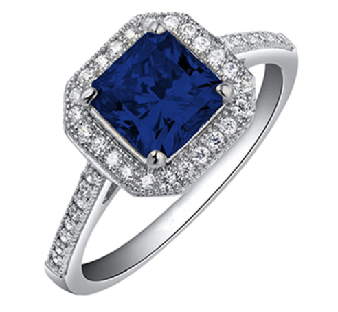 Simulated Sapphire Princess Cut Ring