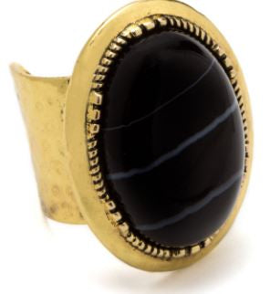 BLACK AGATE STONE RING