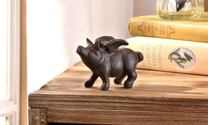 Cast Iron Flying Pig Figurine