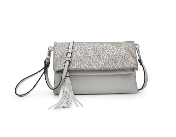 Austin Crossbody in Cheetah and Dark Silver