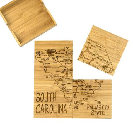 South Carolina Bamboo Coaster Set