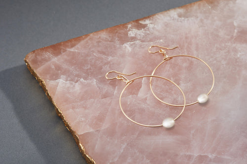 Breathe Earrings - 14k Gold Artist Wire with Fresh Water Pearl