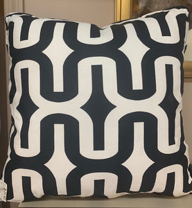 Cream and Black Square Pillow