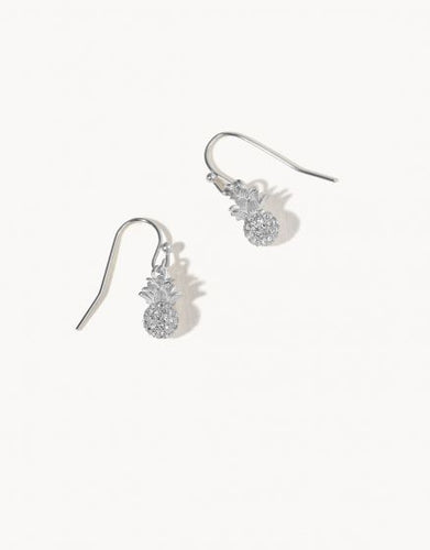 Delicate Sparkly Pineapple Drop Earrings Crystal