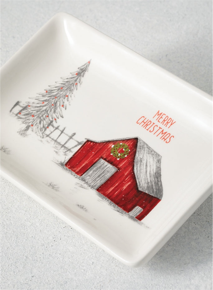 Down Home Holiday Ceramic Snack Tray