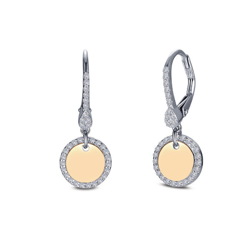 Leverback Round Disc Earrings