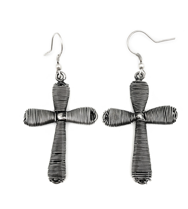 Basketweave Cross Earrings