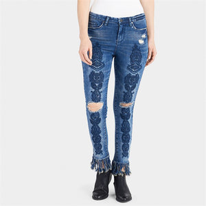 OMG Embroidered Leg Fringe Jeans