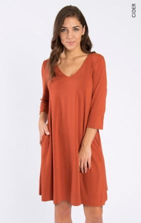 Everyday Basic Knit Dress in Cider