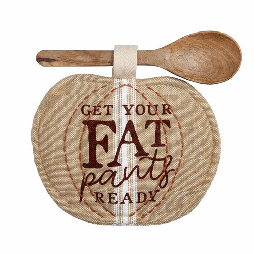 Fat Pants Thanksgiving Pot Holder & Spoon Set