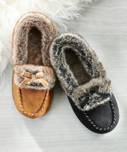 Faux Fur Lined Slippers, 2 Asst