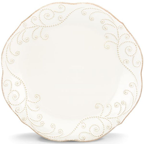 French Perle Bead White Dinner Plate