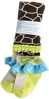 Mud Pie Giraffe Ruffled Sock Leggings- 12-18 Months