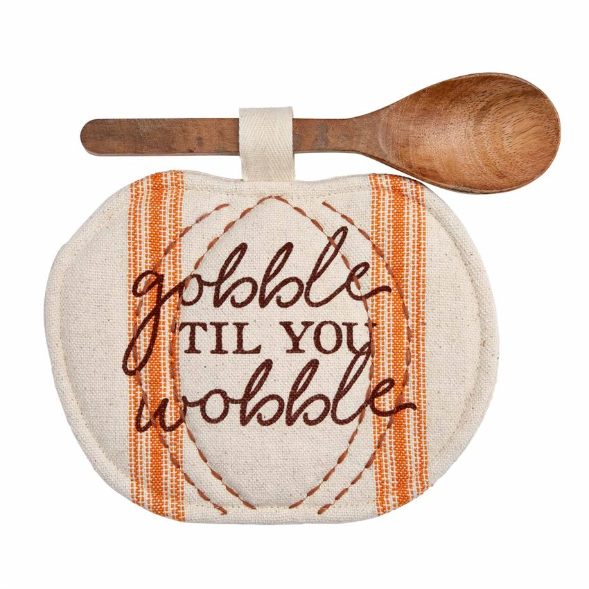 Gobble Thanksgiving Pot Holder & Spoon Set