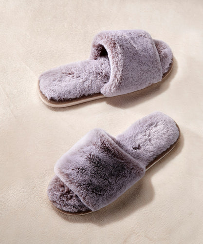 Grey Faux Fur Open-Toe Slippers, 3 Asst