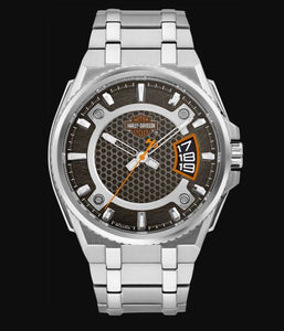 Harley Davidson Men's Black Dial Stainless Steel Watch