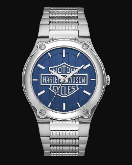 Harley Davidson Men's Blue Patterned Dial Stainless Steel Watch