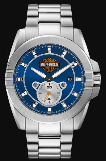 Harley Davidson Men's Blue Dial Stainless Steel Watch
