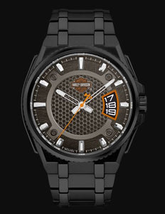 Harley Davidson Men's Matte Black Dial Stainless Steel Watch