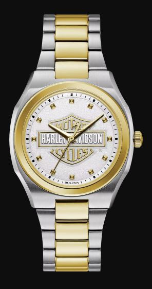 Harley Davidson Women's White Dial Stainless Steel Watch