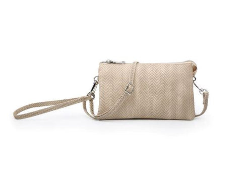 Riley Crossbody/Wristlet in Herringbone  Sand
