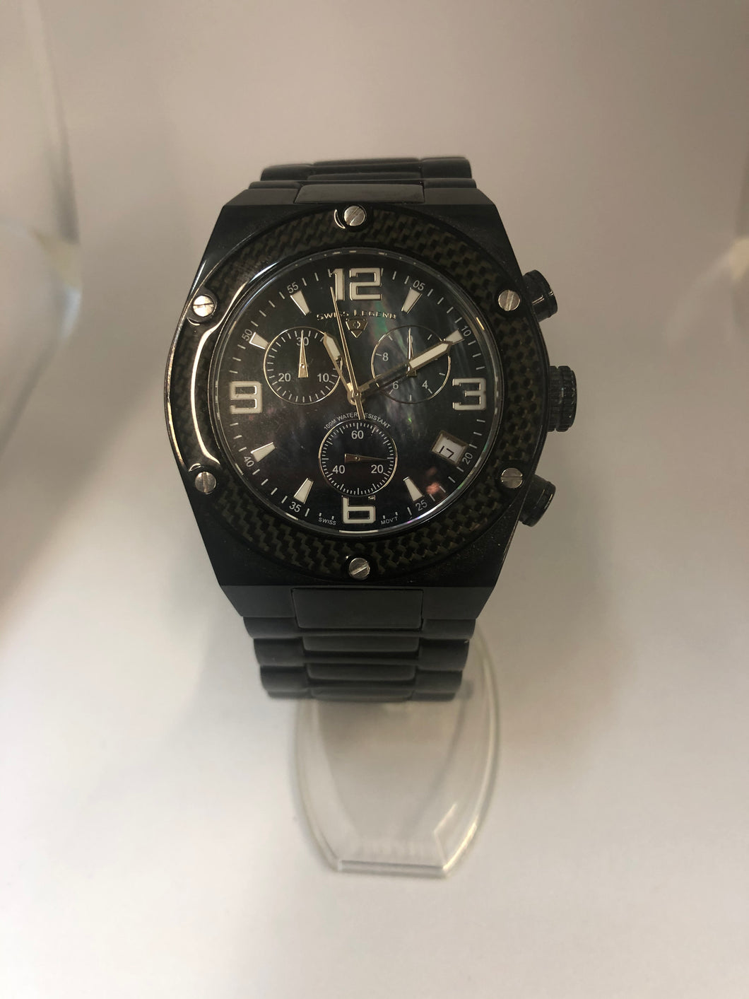 Swiss Legend Men's Black Stainless Steel Chronograph Watch