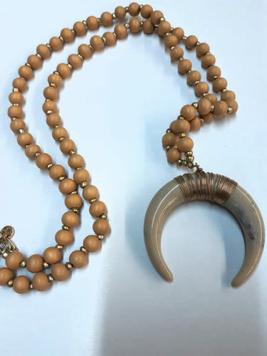 Wood Beads With Horn Necklace