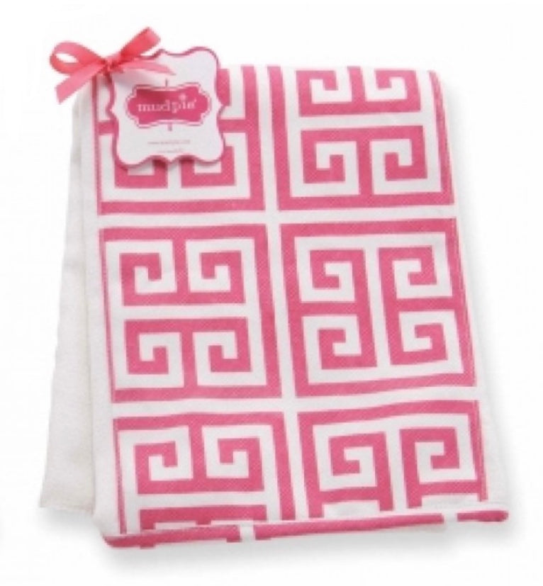 Pink Greek Key Burp Cloth