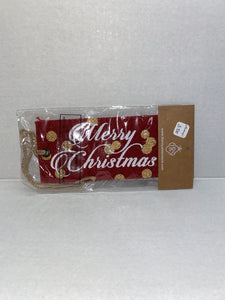 Merry Christmas Jute Tag Red/White/Gold
