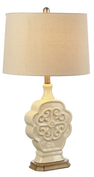 Ivory Embossed Medallion Table Lamp 100W Max. 3 Way Switch