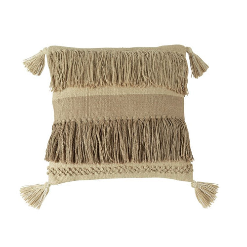 Jute Fringe Square Tassel Pillow