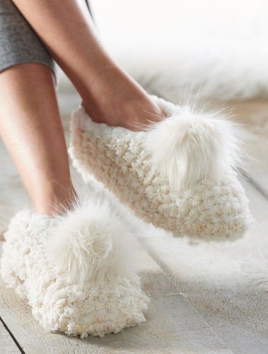 Plush Pom Pom Slippers, 2 Asst
