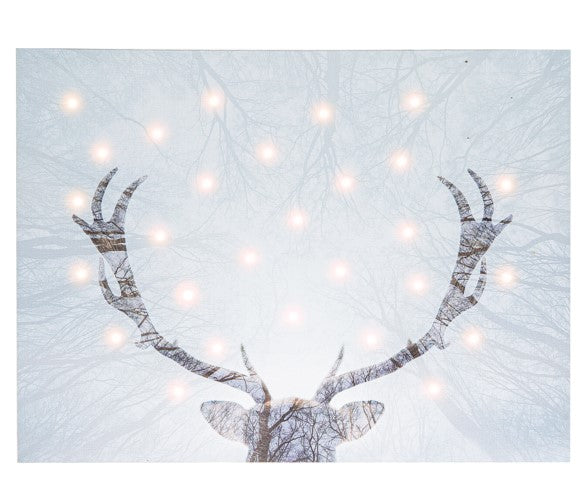 LED Light Up Deer Wall Decor Canvas