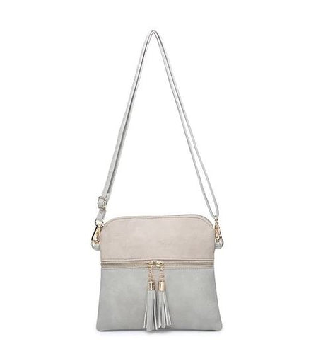 Tara Crossbody in Light Grey and Ivory