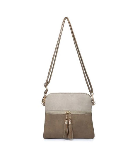 Tara Crossbody in Khaki and Light Khaki