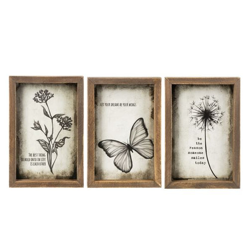 Live a Happy Life Box Plaques, 3 Asst