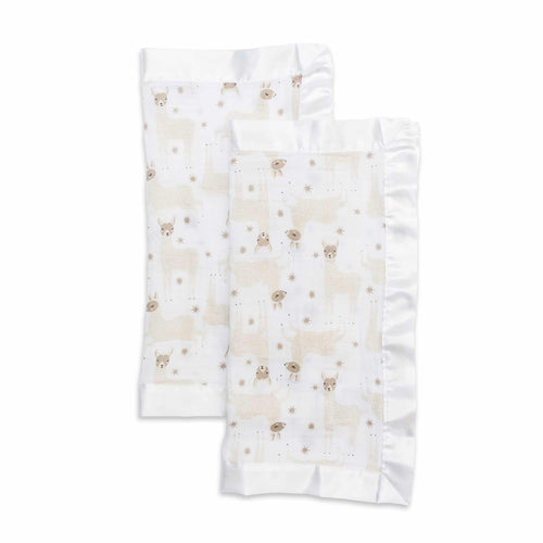 Lulujo Modern Llama Cotton Security Blankets-Two Pack