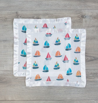 Lulujo Sailboat Cotton Security Blankets-Two Pack