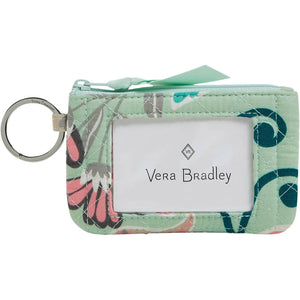 Vera Bradley Iconic Zip ID Case in Mint Flowers