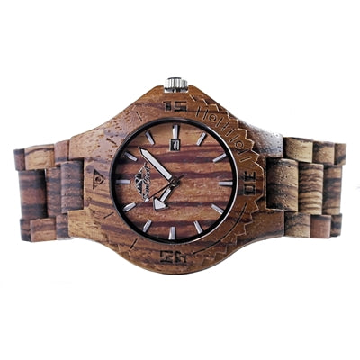 Zebra Wood Watch Featuring Date and Japanese Movement