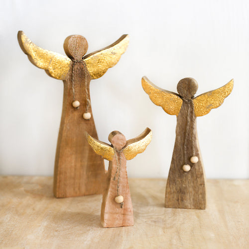Saint Michael Angel Natural/Gold, Assorted Sizes