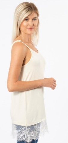 Lace the Day Away Layering Tank, Pearl