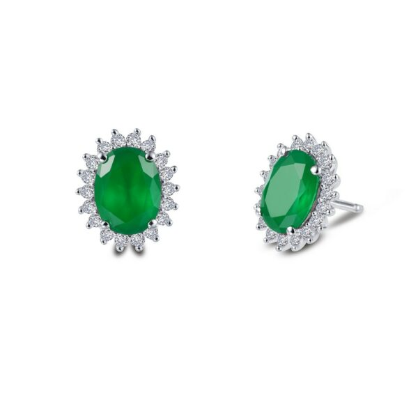 Simulated Emerald Halo Earrings